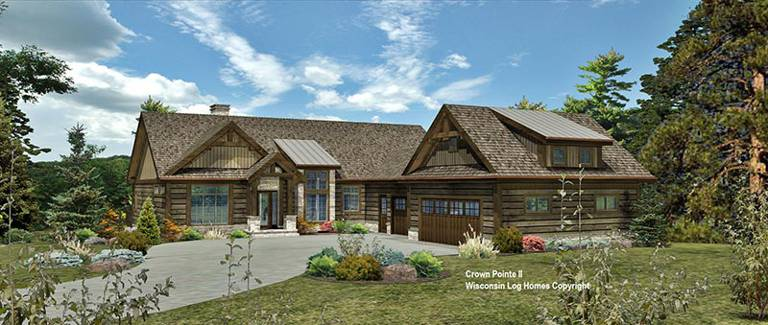crown-pointe-ii-front-rendering-in-timberlock-wisconsin-log-homes-copyright